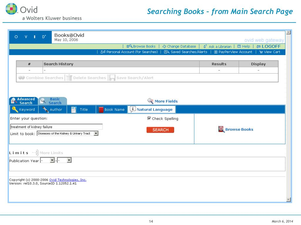 Searching Books – from Main Search Page