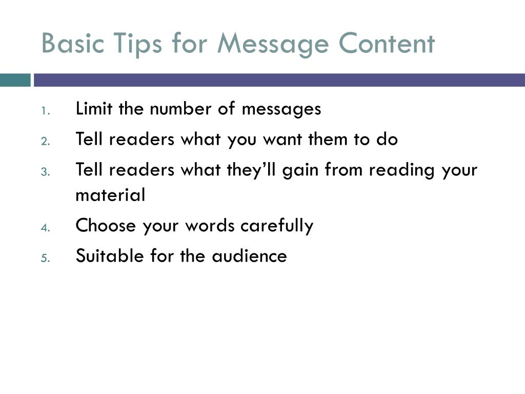 Basic Tips for Message Content