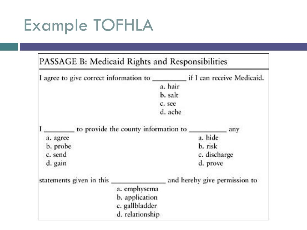 Example TOFHLA