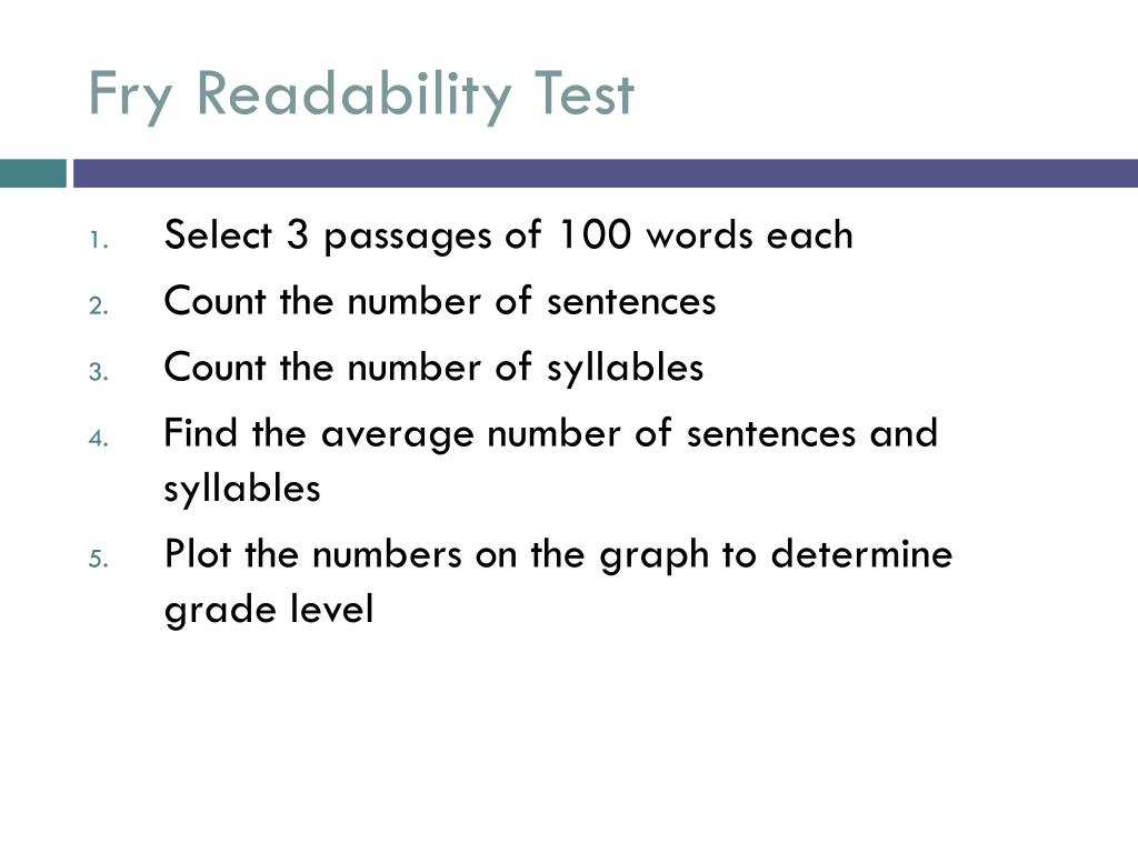Fry Readability Test