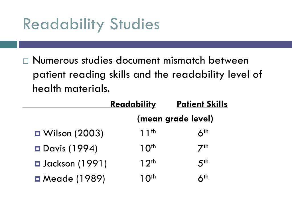 Readability Studies