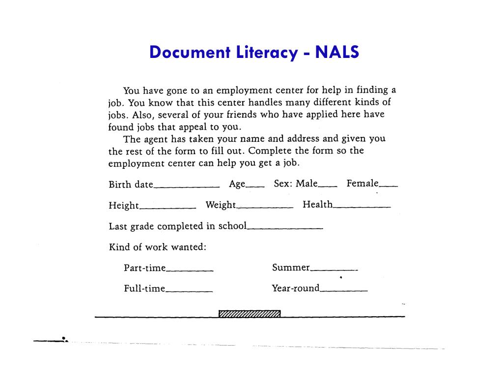Document Literacy - NALS