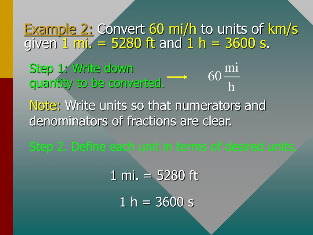 1 mi. = 5280 ft