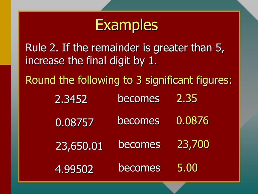 Rule 2. If the remainder is greater than 5, increase the final digit by 1.
