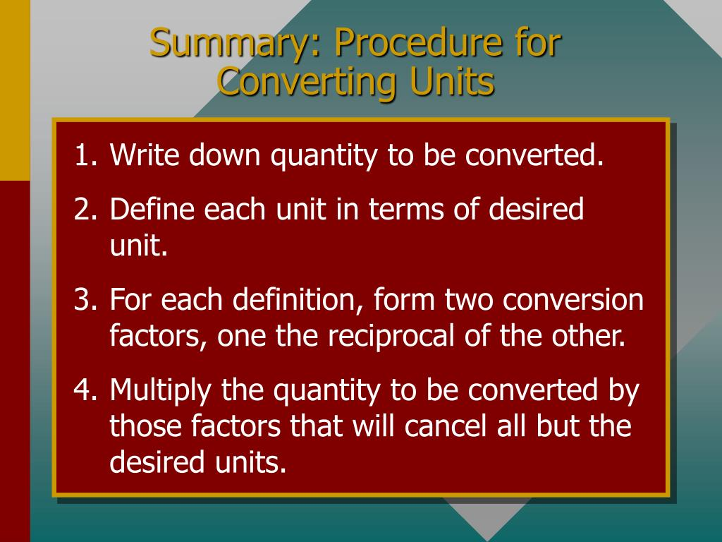 Summary: Procedure for Converting Units