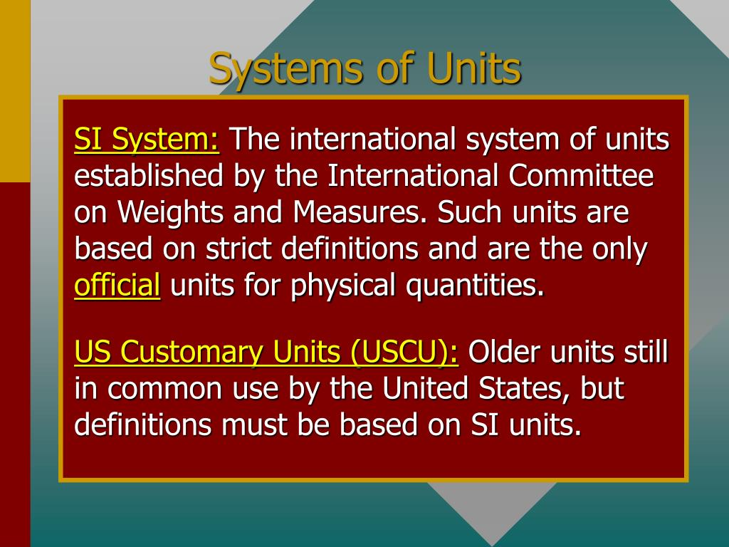 Systems of Units
