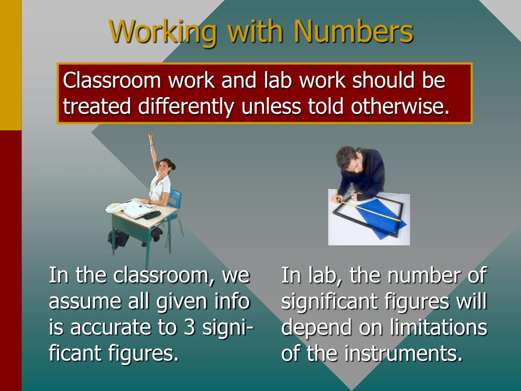 In the classroom, we assume all given info is accurate to 3 signi- ficant figures.