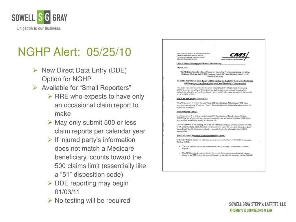 NGHP Alert:  05/25/10