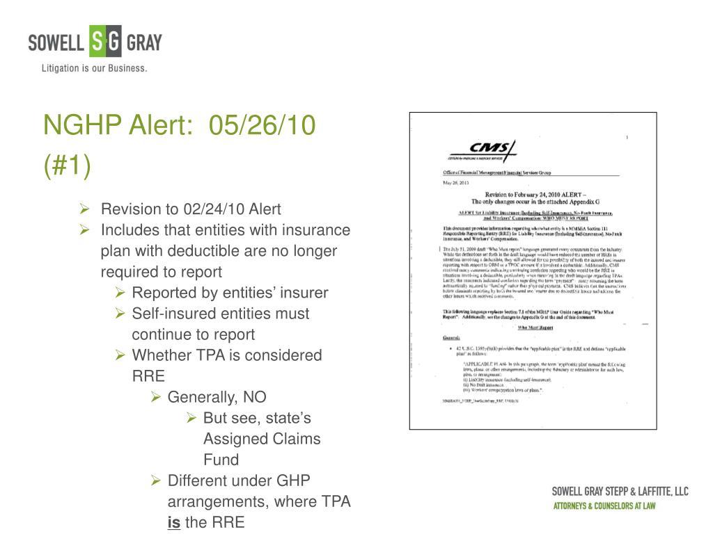 NGHP Alert:  05/26/10 (#1)