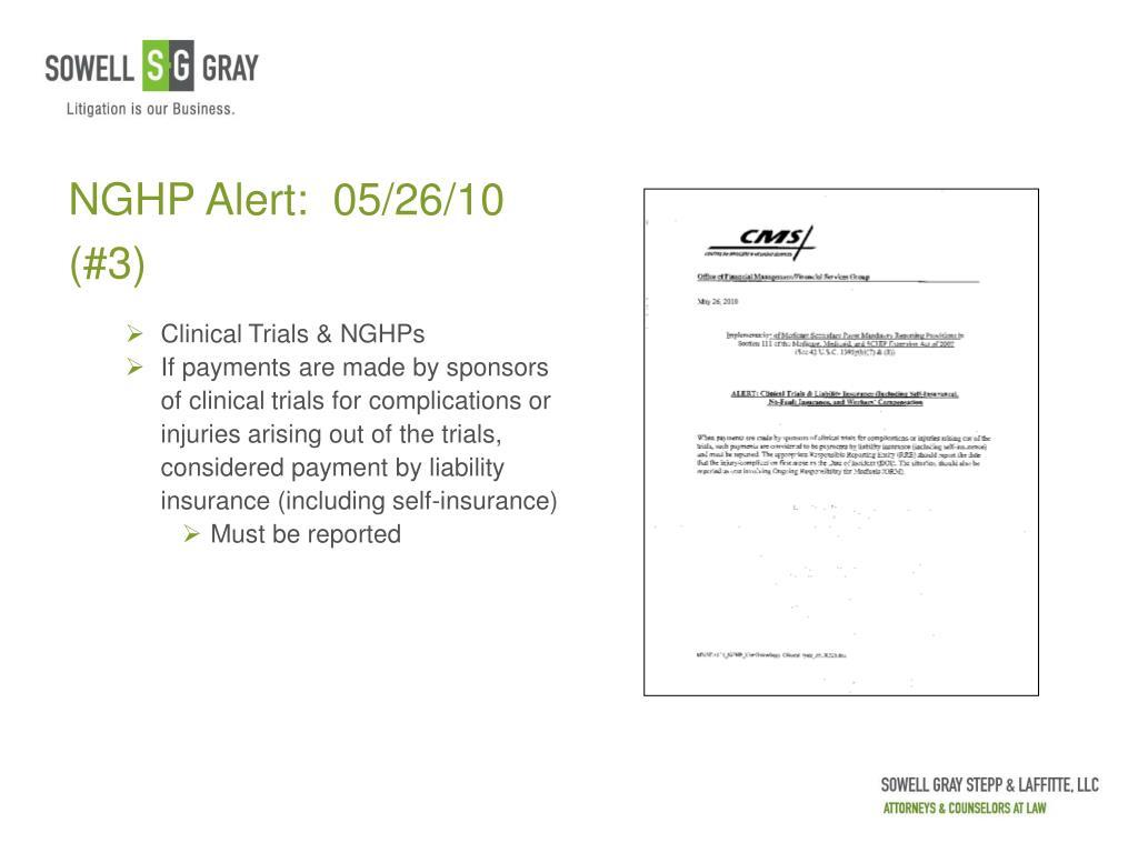 NGHP Alert:  05/26/10 (#3)