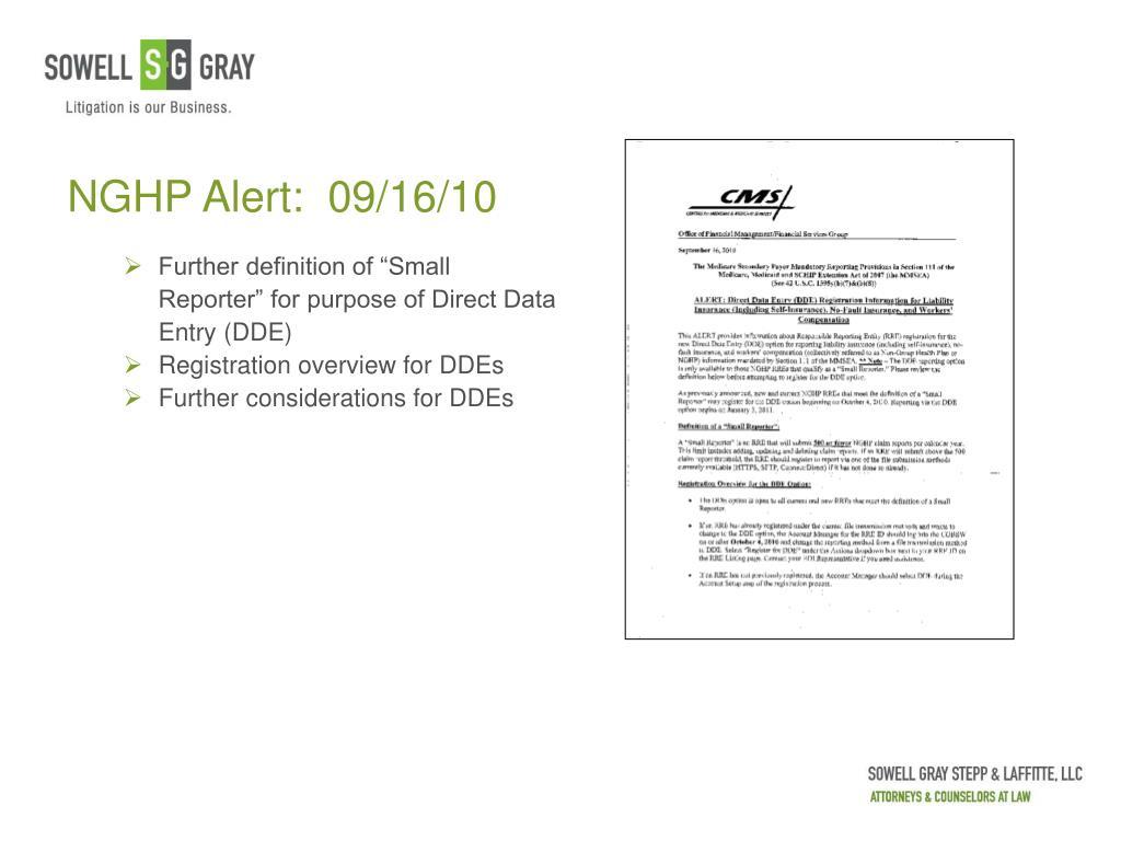 NGHP Alert:  09/16/10