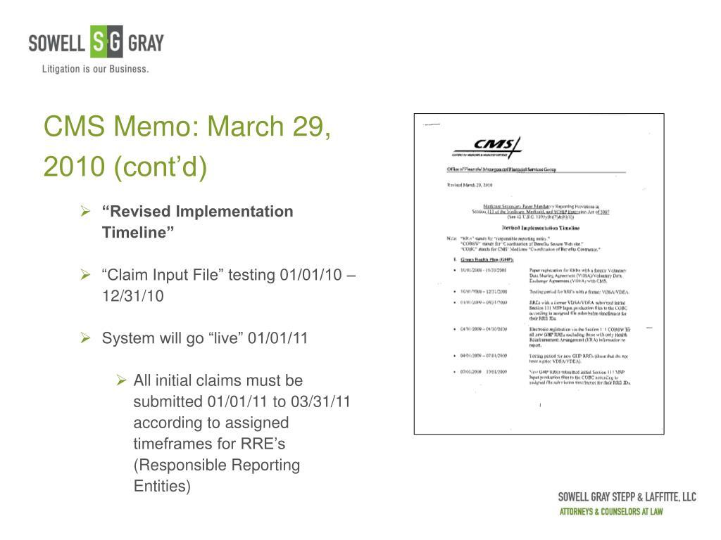 CMS Memo: March 29, 2010 (cont'd)