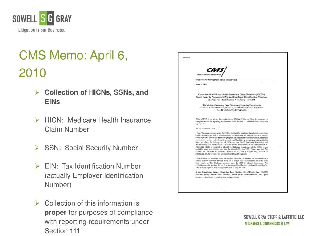 CMS Memo: April 6, 2010