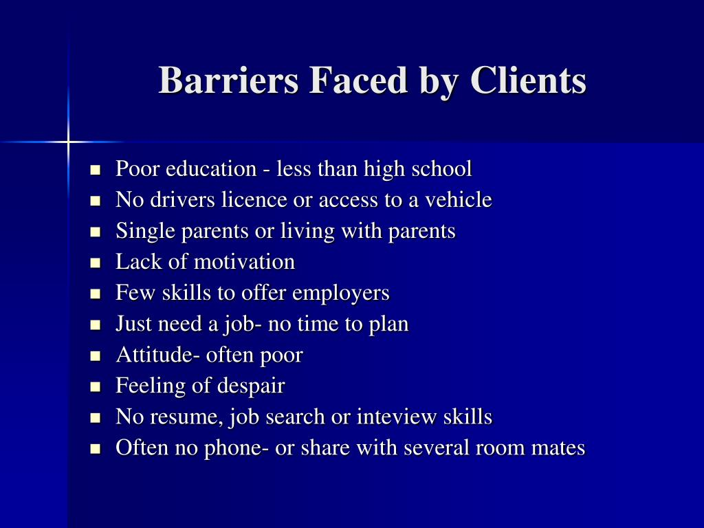 Barriers Faced by Clients