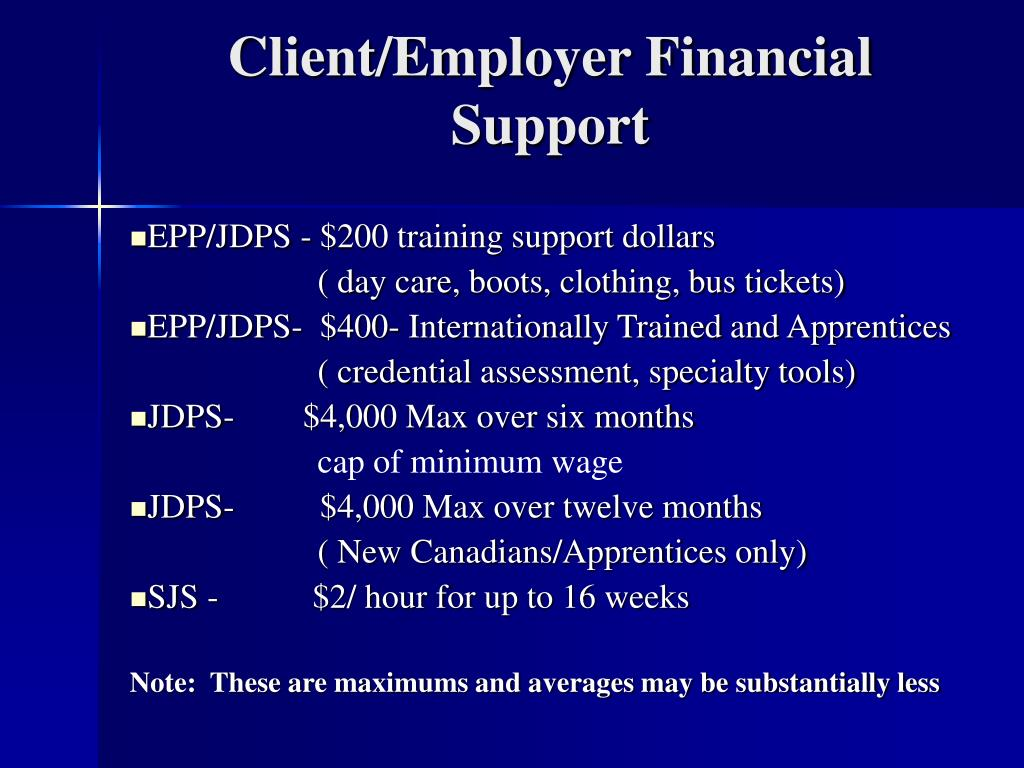 Client/Employer Financial Support