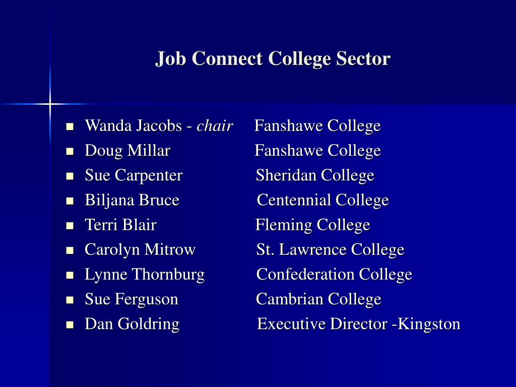 Job Connect College Sector