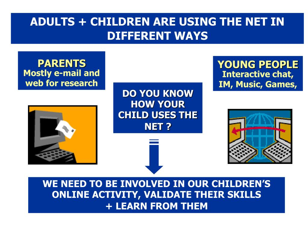 ADULTS + CHILDREN ARE USING THE NET IN DIFFERENT WAYS