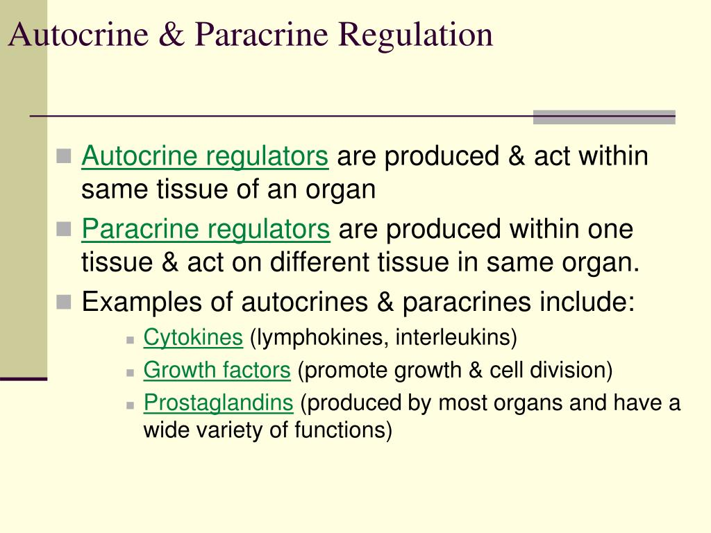 Autocrine & Paracrine Regulation
