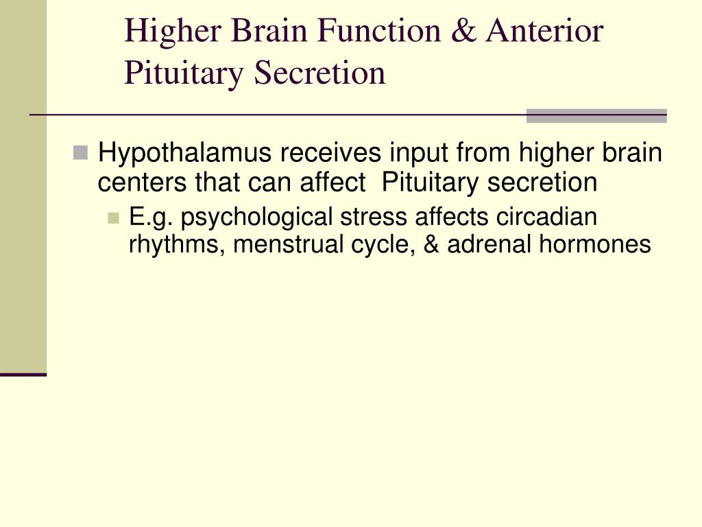 Higher Brain Function & Anterior Pituitary Secretion