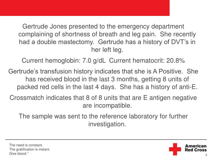 Gertrude Jones presented to the emergency department complaining of shortness of breath and leg pain...