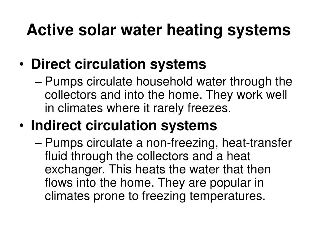 Active solar water heating systems
