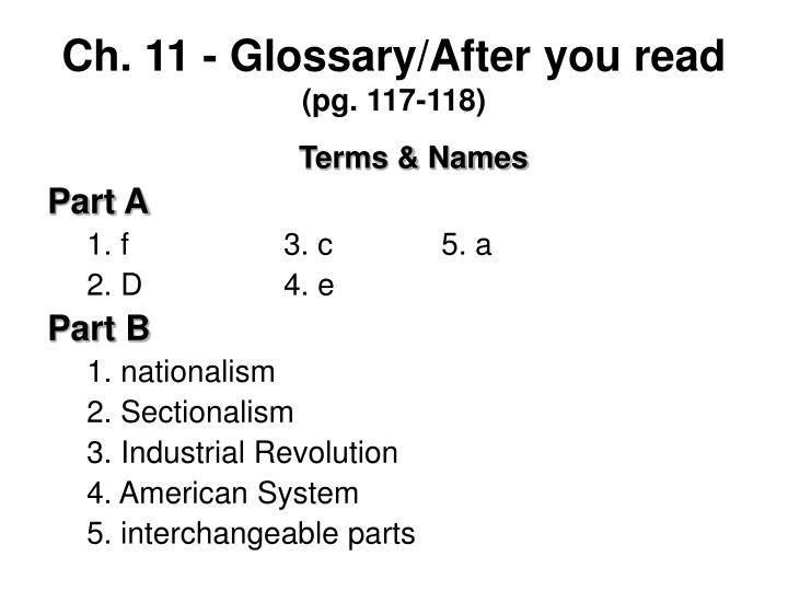 Ch. 11 - Glossary/After you read