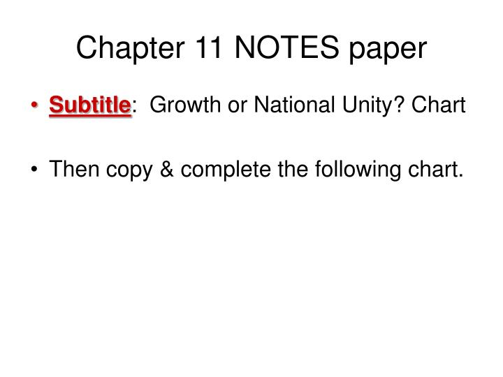 Chapter 11 NOTES paper