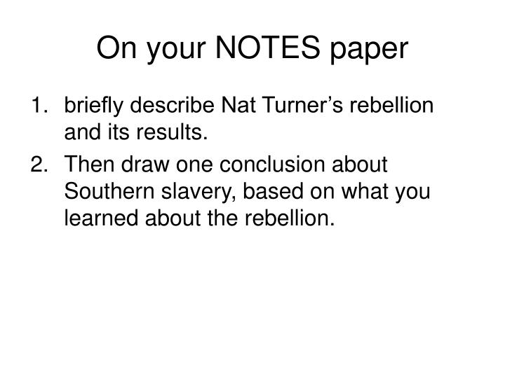 On your NOTES paper