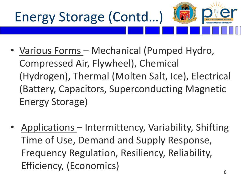 Energy Storage (Contd…)