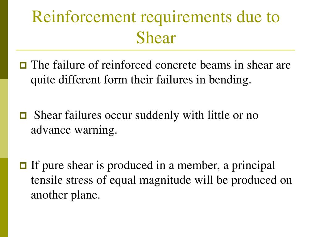 Reinforcement requirements due to Shear