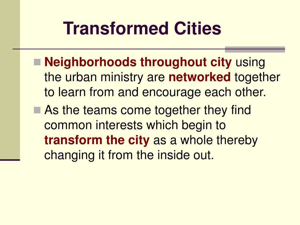 Transformed Cities