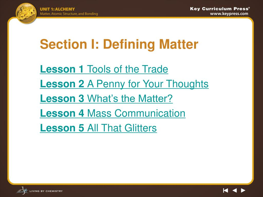 Section I: Defining Matter
