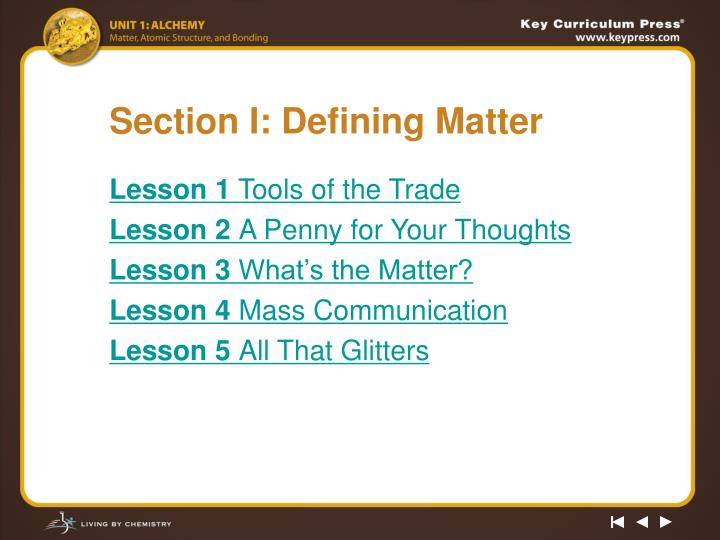 Section i defining matter