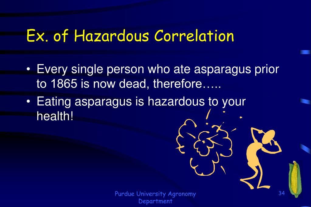 Ex. of Hazardous Correlation