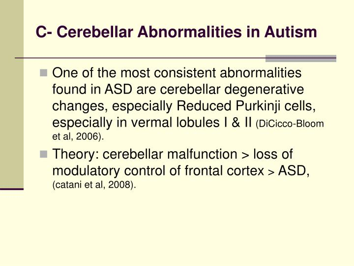C- Cerebellar Abnormalities in Autism