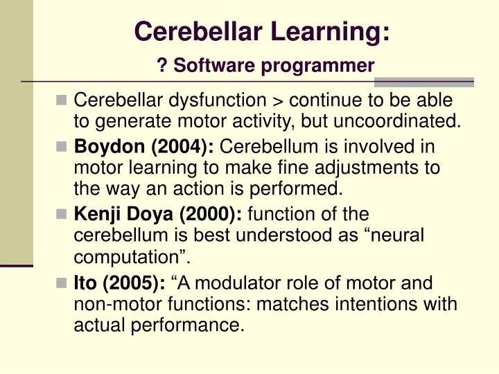 Cerebellar Learning: