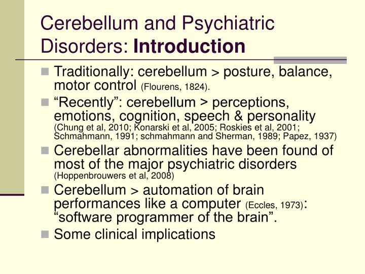 Cerebellum and Psychiatric Disorders: