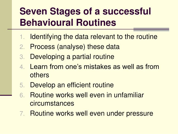 Seven Stages of a successful Behavioural Routines