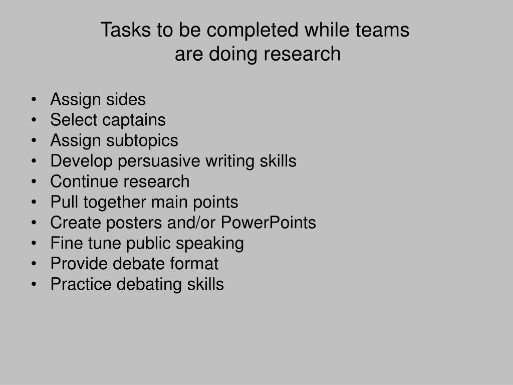 Tasks to be completed while teams