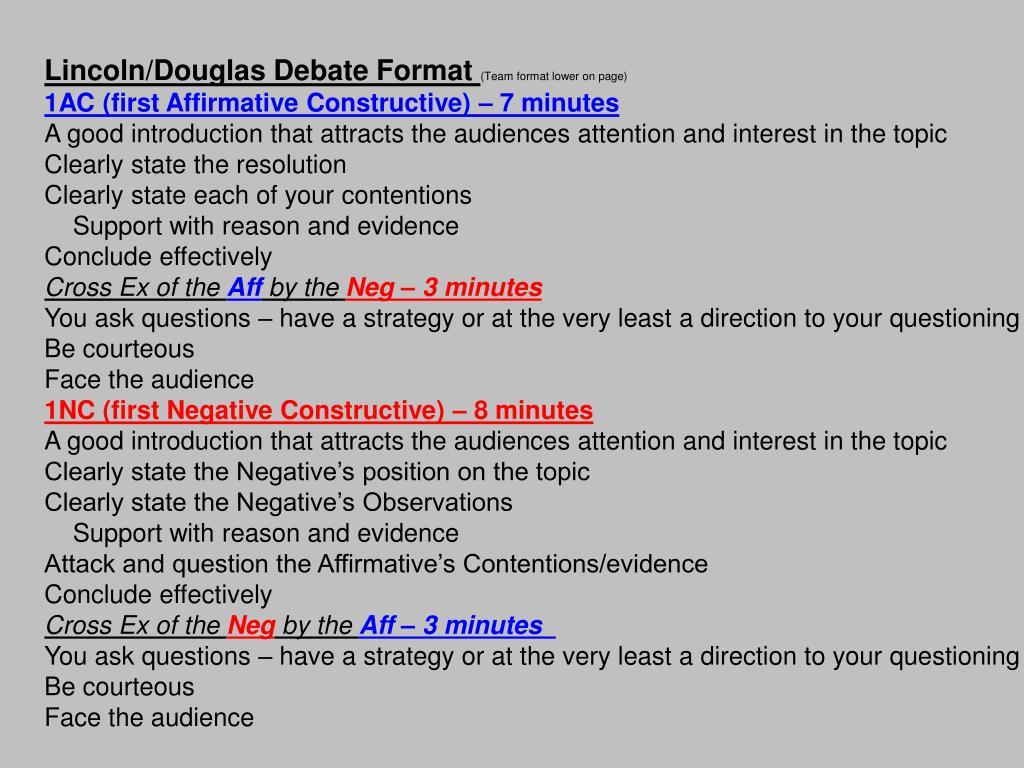 Lincoln/Douglas Debate Format