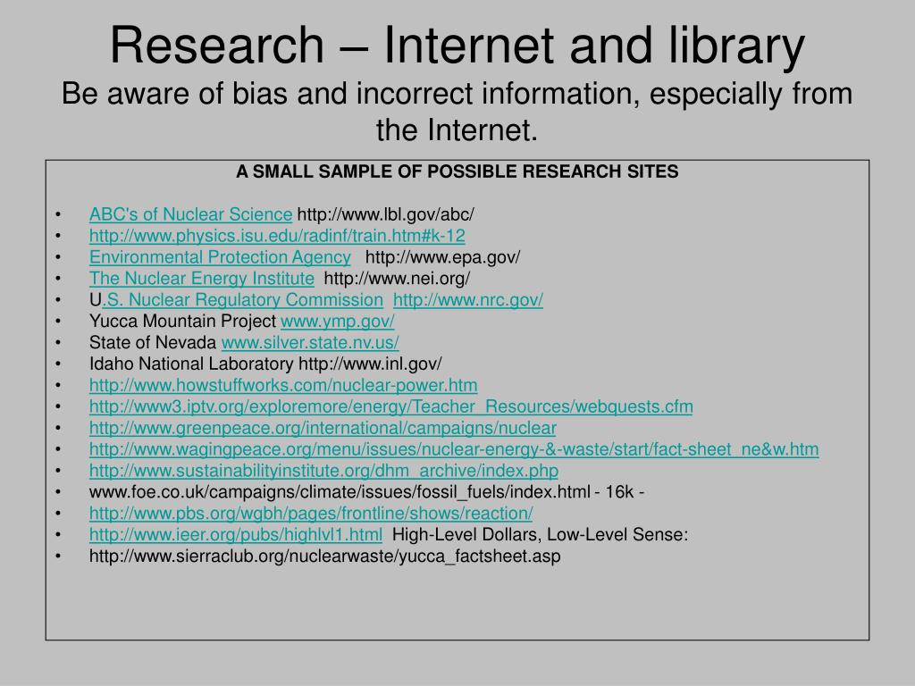 Research – Internet and library