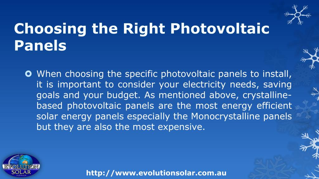 Choosing the Right Photovoltaic Panels