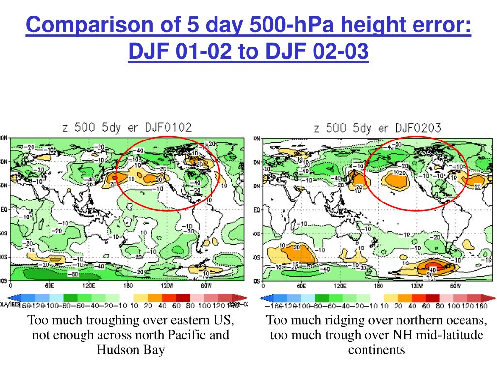 Comparison of 5 day 500-hPa height error:  DJF 01-02 to DJF 02-03