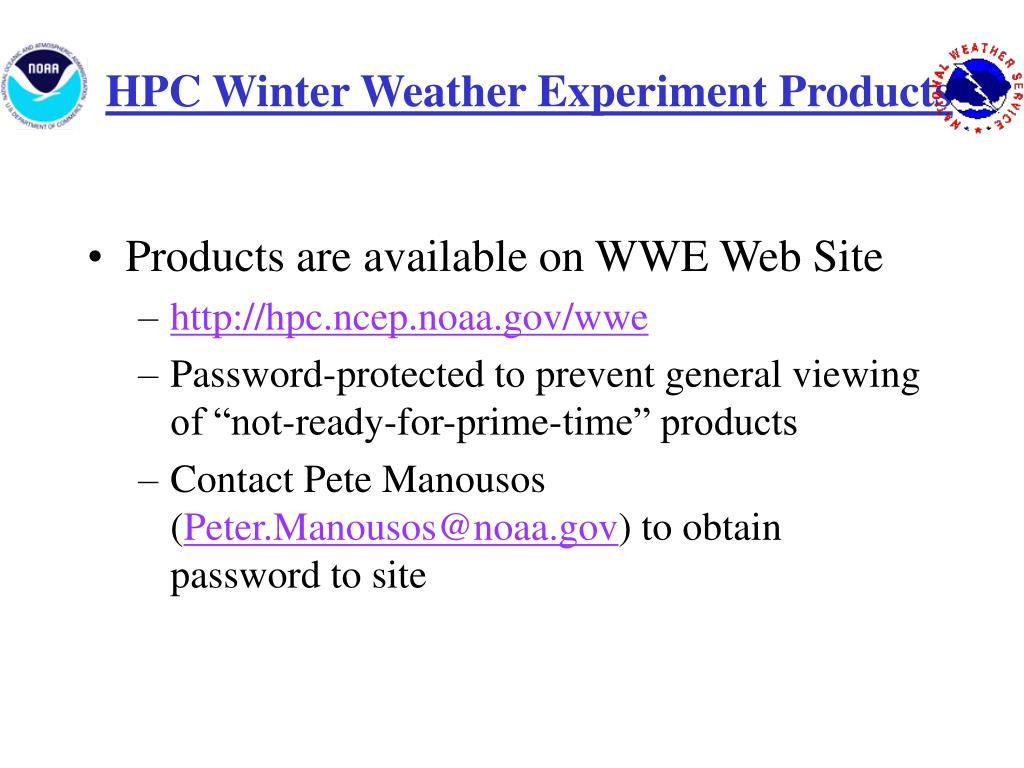 HPC Winter Weather Experiment Products