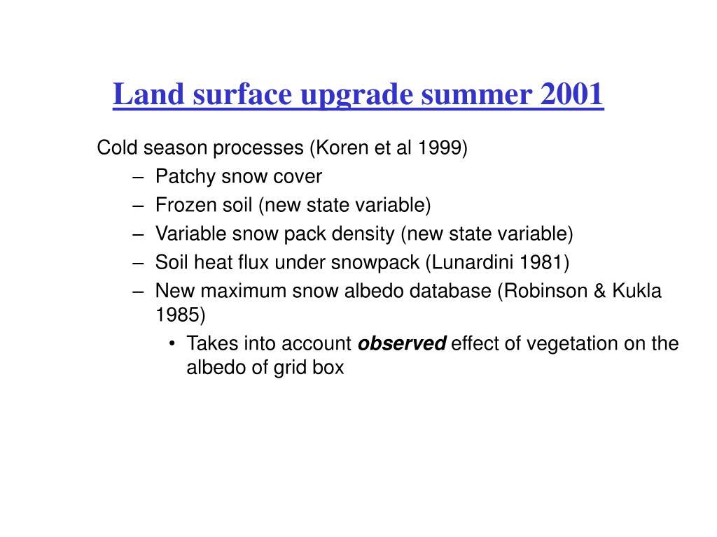 Land surface upgrade summer 2001