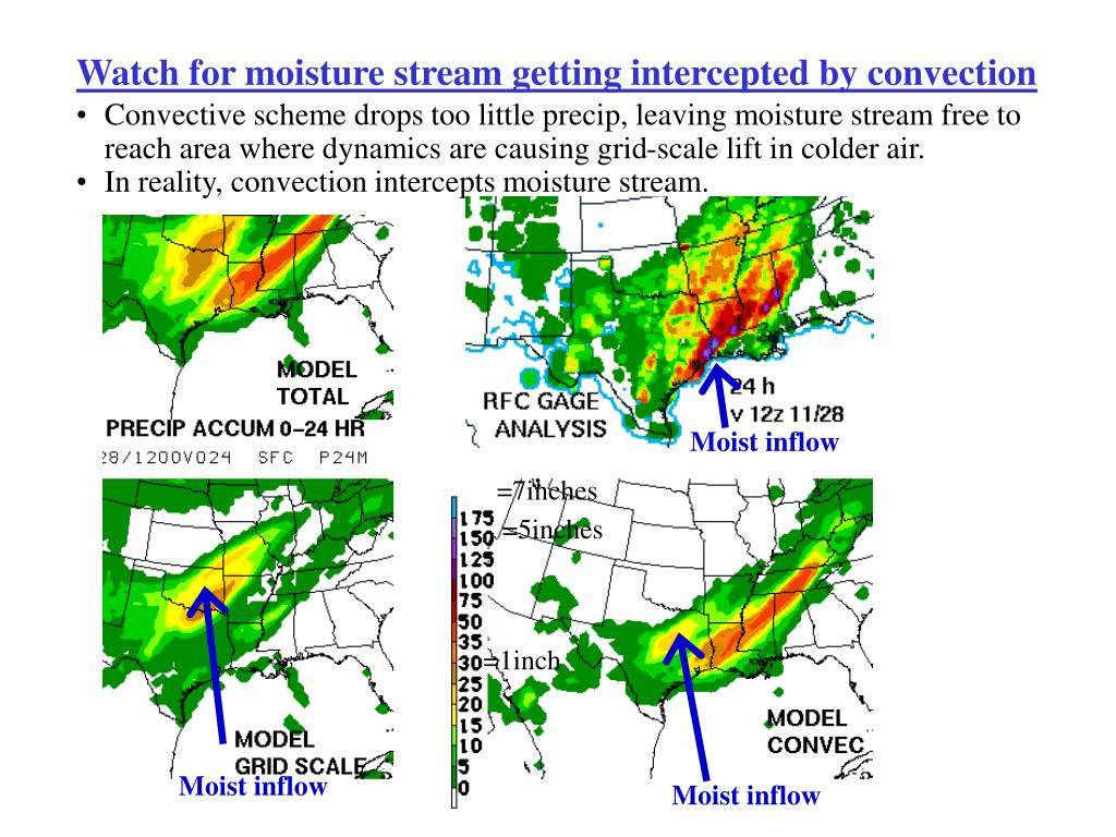 Watch for moisture stream getting intercepted by convection