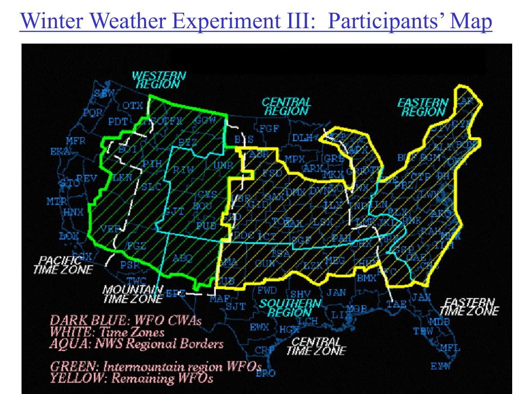 Winter Weather Experiment III:  Participants' Map