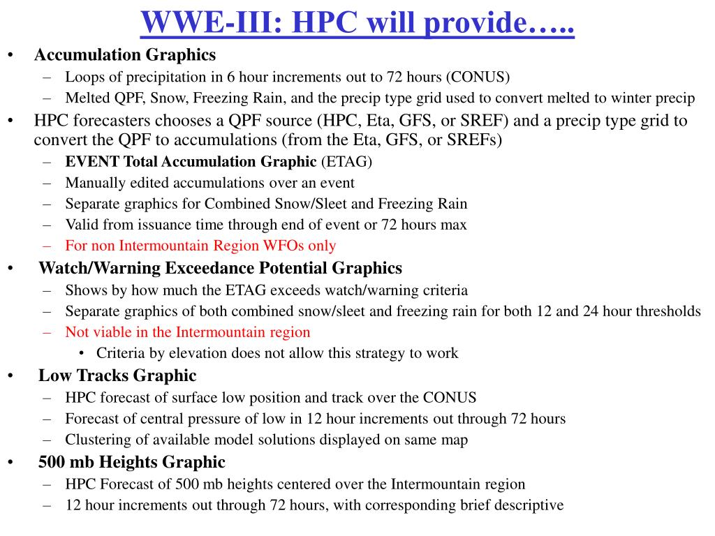 WWE-III: HPC will provide…..