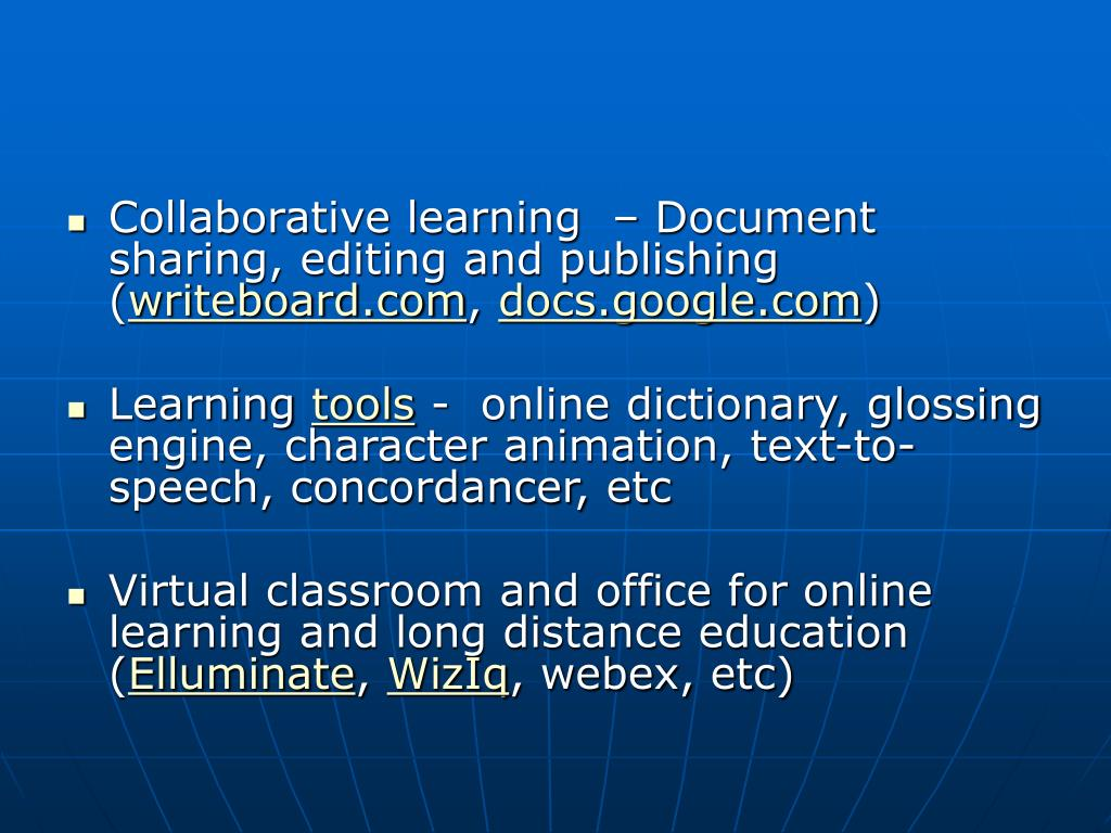 Collaborative learning  – Document sharing, editing and publishing (