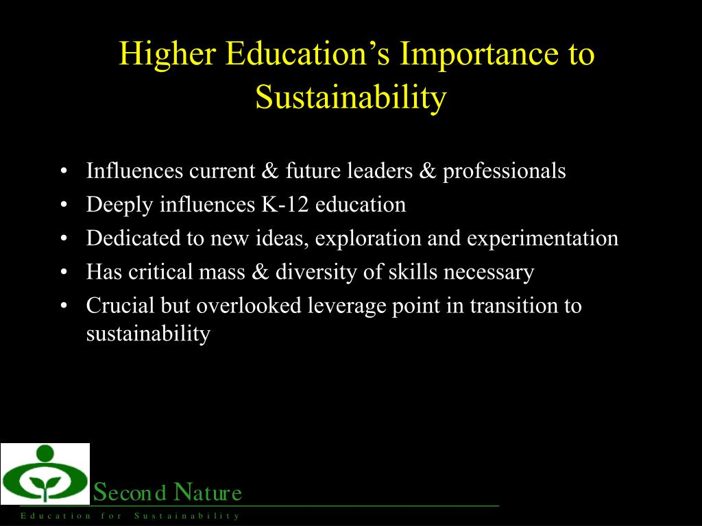 Higher Education's Importance to Sustainability